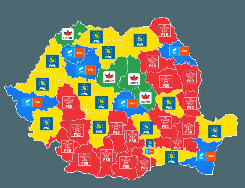 Harta alegerilor europarlamentare 2019 in functie de partidul castigator pe judet - foto preluat de pe ro.wikipedia.org
