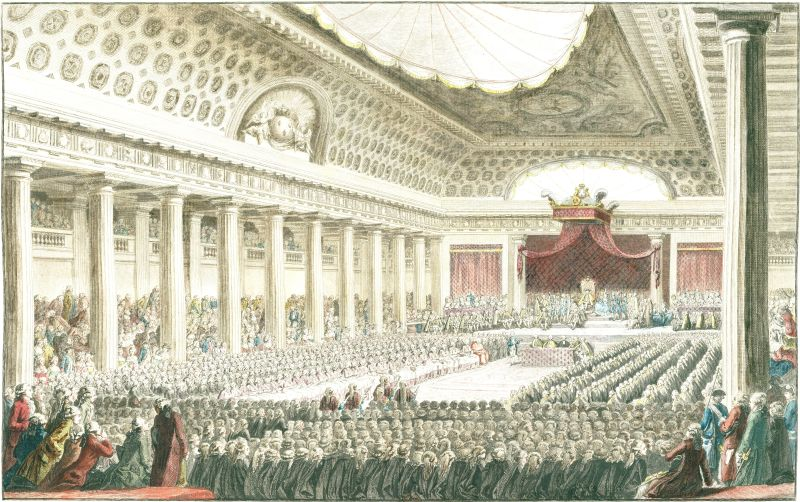 "Engraving by Isidore-Stanislaus Helman (1743–1806) following a sketch by Charles Monnet (1732–1808). The title is L'Ouverture des États Généraux à Versailles le 5 Mai 1789, ""Opening of the Estates-General in Versailles 5 May 1789."" It was one of a series by Helman: Principales Journées de la Révolution - foto preluat de pe en.wikipedia.org"