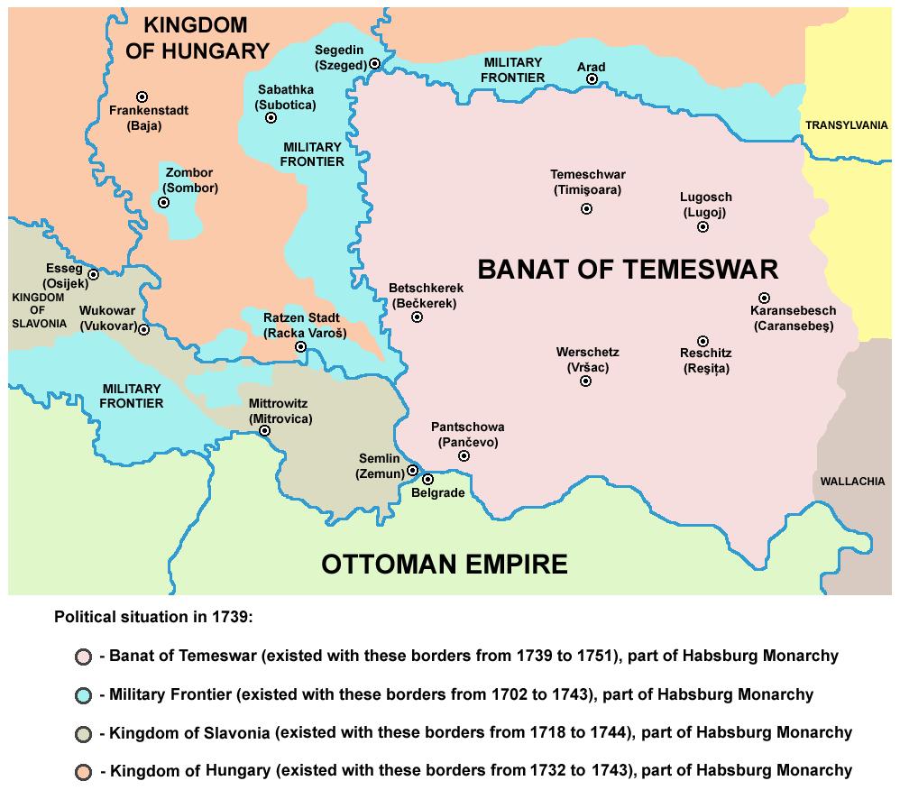 Treaty of Belgrade (18 September 1739) Political situation in 1739, after Treaty of Belgrade - foto preluat de pe en.wikipedia.org