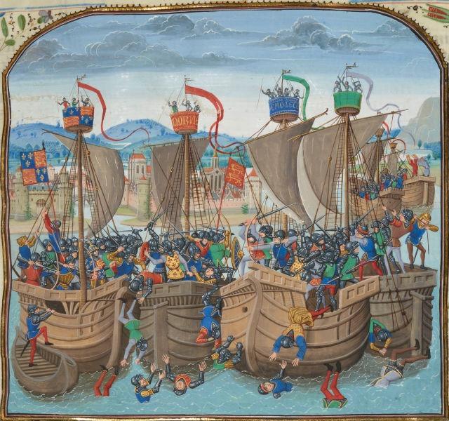 Bătălia de la Sluis (24 iunie 1340) Parte din Războiului de 100 de Ani - Ilustraţie din secolul al XIV-lea, de Jean Froissart - foto preluat de pe ro.wikipedia.org
