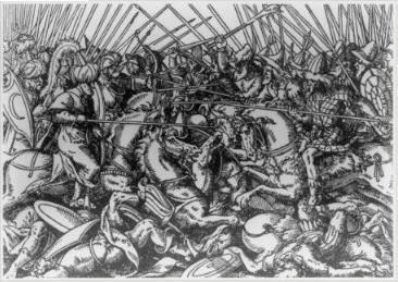 Bătălia de la Torvioll (29 iunie 1444) - Parte din Războaielor Otomane din Europa (O gravură în lemn a confruntării dintre forţele lui Skanderbeg şi turcii otomani) - foto preluat de pe ro.wikipedia.org