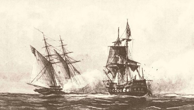 First Barbary War (10 May 1801 – 10 June 1805) - USS Enterprise fighting the Tripolitan polacca Tripoli by William Bainbridge Hoff, 1878 - foto preluat de pe en.wikipedia.org