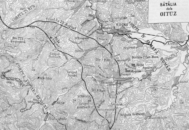 Bătălia de la Oituz (26 iulie/8 august - 9/22 august 1917) - Harta bătăliei - foto preluat de pe ro.wikipedia.org