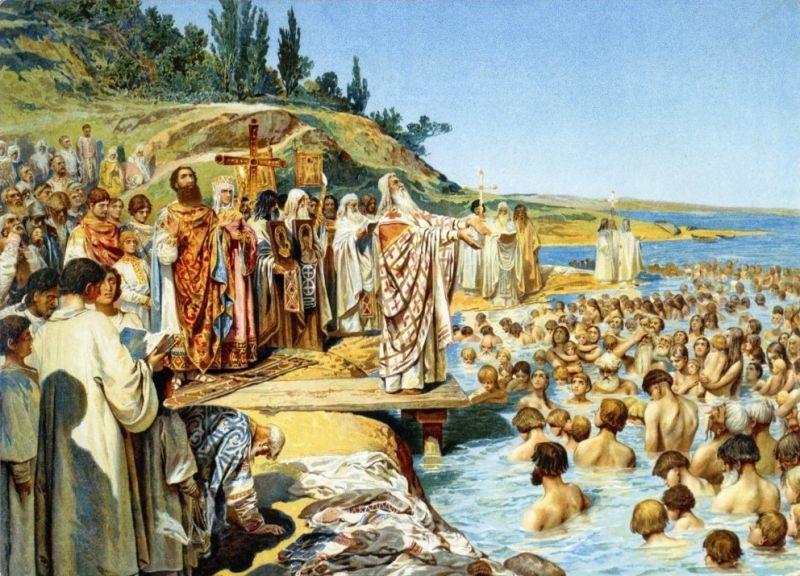 Botezul kievenilor, pictură de Klavdiî Lebedev - foto preluat de pe ro.wikipedia.org