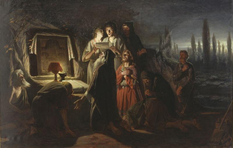 Întâlnire pe ascuns a creştinilor din Kiev-ul păgân, pictură de Vasili Perov - foto preluat de pe ro.wikipedia.org