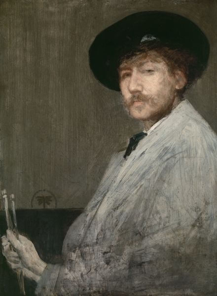 James Abbott McNeill Whistler (n. 11 iulie 1834, Lowell, Massachusetts, SUA – d. 17 iulie 1903, Chelsea, Regatul Unit al Marii Britanii şi Irlandei) a fost un pictor american, naturalizat ulterior în Marea Britanie, cu un stil propriu oscilând între realism, simbolism şi impresionism, format la şcolile pariziene de pictură - Arrangement in Gray: Portrait of the Painter (self portrait, c. 1872), Detroit Institute of Arts - foto preluat de pe ro.wikipedia.org