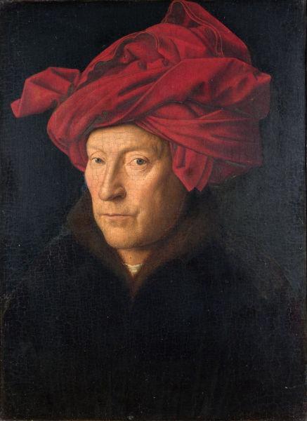 "Jan van Eyck (n. circa 1390, Maaseyck - d. 9 iulie 1441, Brugge) a fost un pictor flamand din perioada târzie a Evului Mediu (""Bărbat cu turban roşu"", 1433, presupus a fi autoportret) - foto preluat de pe ro.wikipedia.org"