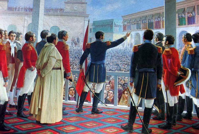 Independenţa proclamată de José de San Martín în 1821 - foto preluat de pe ro.wikipedia.org