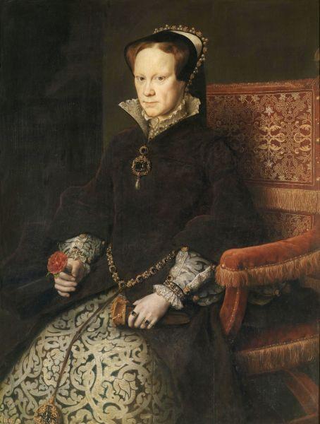 Maria I Tudor (engleză Mary Tudor) (n. 18 februarie 1516 – d. 17 noiembrie 1558), cunoscută şi sub numele de Maria Tudor, a fost regina Angliei şi regina Irlandei din 6 iulie 1553 (de facto) sau 19 iulie 1553 (de jure) până la moartea sa în 17 noiembrie 1558 - Portrait by Antonis Mor, 1554 - foto preluat de pe ro.wikipedia.org