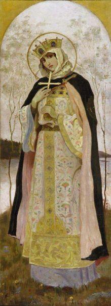 Sfânta și dreapta prințesă Olga din Kiev (890 - † 969) a fost bunica prințului Vladimir din Kiev. Ea a fost prima între conducătorii poporului rus care s-a convertit la creștinismul ortodox, la Constantinopol în anul 957; sub influența ei nepotul Vladimir s-a convertit și el la creștinism și a adus Ortodoxia în Rusia. Prăznuirea ei în Biserica Ortodoxă se face la 11 iulie (Saint Olga by Mikhail Nesterov) - foto preluat de pe en.wikipedia.org