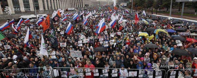 Proteste la Moscova (11 august 2019 - foto preluat de pe www.agerpres.ro