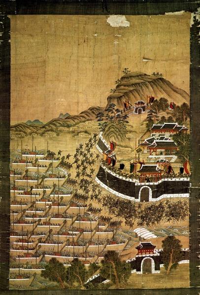 Războiul Imjin (23 mai 1592 – 24 decembrie 1598) - Debarcarea japonezilor în portul Busan - foto preluat de pe en.wikipedia.org
