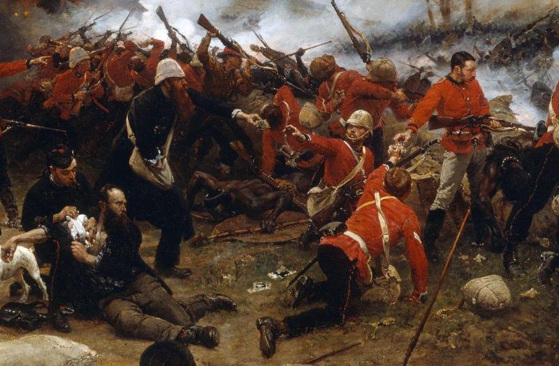 Războiul zulușilor (Războiul Anglo-Zulus 11 ianuarie – 4 iulie 1879) - Detaliu dintr-o pânză reprezentând Bătălia de la Rorke's Drif - foto preluat de pe ro.wikipedia.org