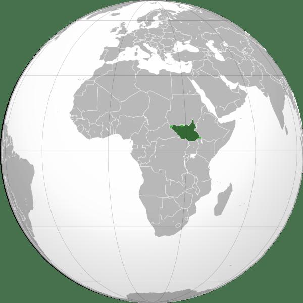 Amplasarea Sudanului de Sud (verde închis) în cadrul Africii - foto preluat de pe ro.wikipedia.org