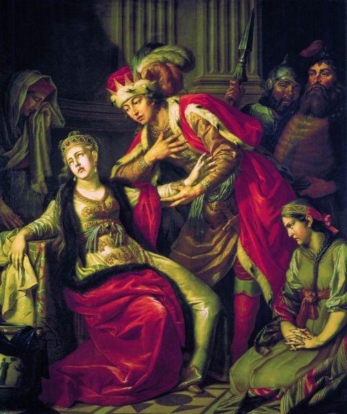 """""""Vladimir înaintea Rognedei"""" -  Pictură de A.P. Losienko: (1770) - foto preluat de pe ro.wikipedia.org"""