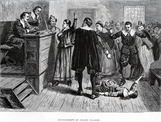 Figura centrală din această ilustrare din 1876 - la aproape două secole de la proces - este considerată a fi Mary Walcott - foto preluat de pe ro.wikipedia.org