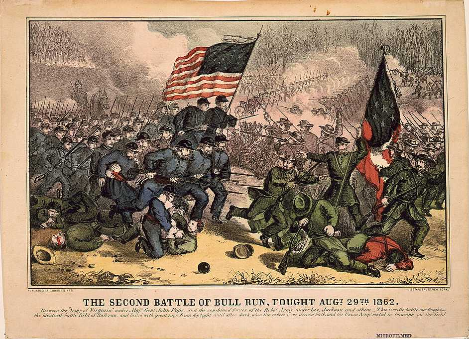 Second Battle of Bull Run, fought Augt. 29th 1862, 1860s lithograph by Currier and Ives - foto preluat de pe en.wikipedia.org