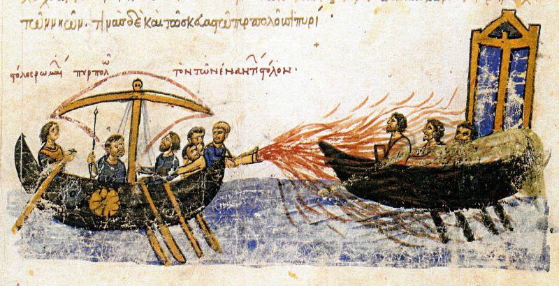 Al Doilea Asediu Arab al Constantinopolului (15 July/Augusta 717 – 15 August 718) Parte a războaielor bizantino-arabe - (Flota arabă a fost distrusă de Focul grecesc.) foto preluat de pe en.wikipedia.org