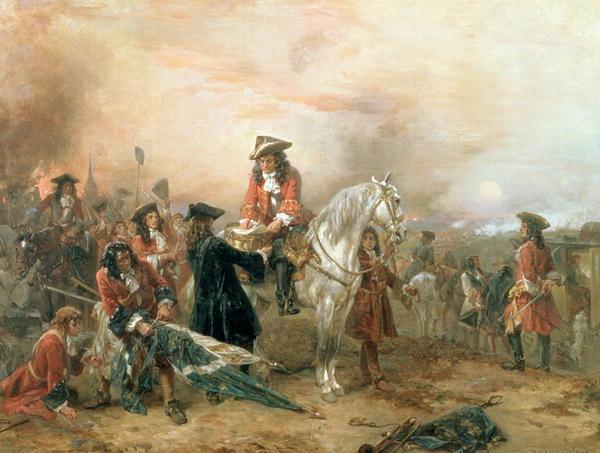 Bătălia de la Blenheim (13 august 1704) Parte a Războiului Succesiunii Spaniole (1701 – 1714) - The Duke of Marlborough Signing the Despatch at Blenheim, Robert Alexander Hillingford - foto preluat de pe en.wikipedia.org