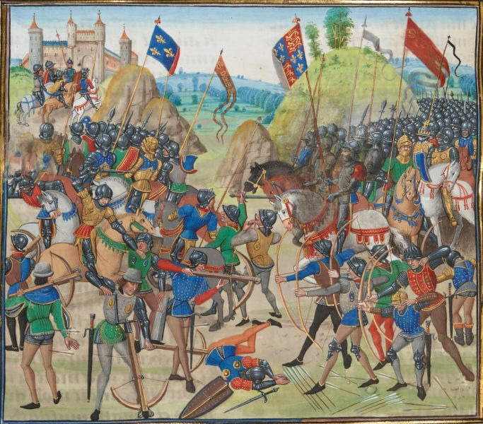 The Battle of Crécy (26 August 1346), from a 15th-century illuminated manuscript of Jean Froissart's Chronicles - foto preluat de pe en.wikipedia.org