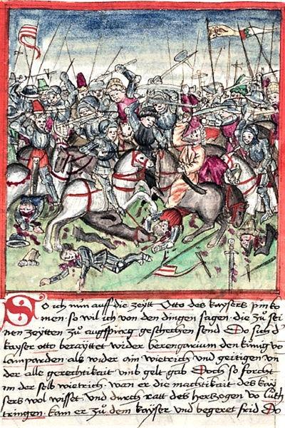 Bătălia de la Lechfeld (10 august 955) Parte din Invaziile maghiarilor în Europa (O reprezentare a bătăliei de la Lechfeld de Michael Echter) - foto preluat de pe ro.wikipedia.org