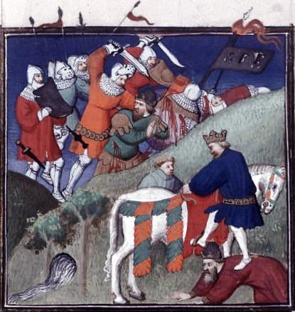 Bătălia de la Manzikert (26 august 1071) - parte a Războaielor dintre bizantini şi turcii selgiucizi - În această miniatură franceză din secolul al XV-lea care prezintă bătălia de la Manzikert, combatanţii sunt înfăţişaţi în armură contemporană celei din Europa de Vest - foto preluat de pe ro.wikipedia.org