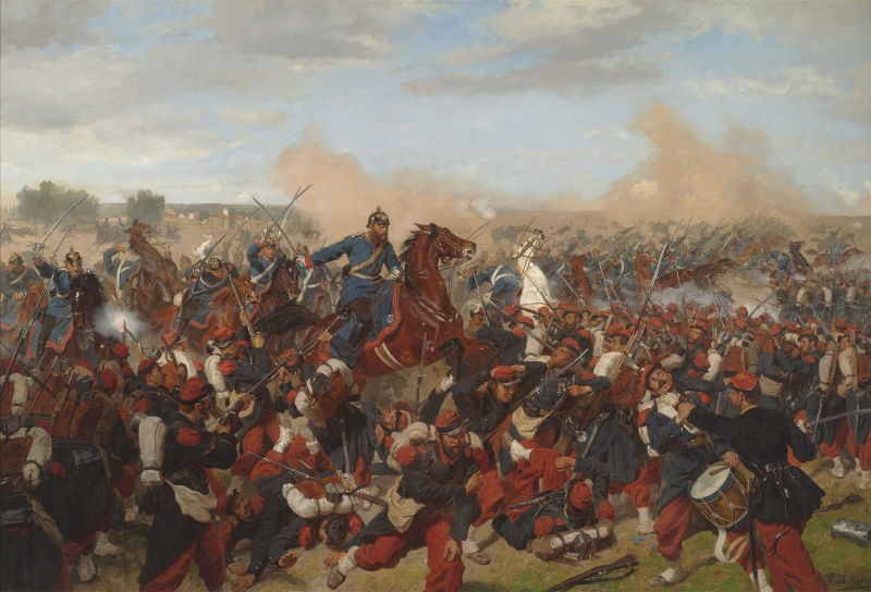 Battle of Mars-La-Tour (16 August 1870) - Part of the Franco-Prussian War - (Heinrich XVII, Prince Reuß, on the side of the 5th Squadron I Guards Dragoon Regiment at Mars-la-Tour, 16 August 1870. Emil Hünten, 1902) - foto preluat de pe en.wikipedia.org