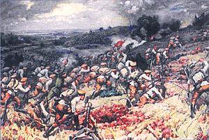 Bătălia de la Turtucaia (1 - 6 septembrie 1916) - Parte din Participarea României la Primul Război Mondial - pictură de Dimităr Ghiugenov - foto preluat de pe ro.wikipedia.org