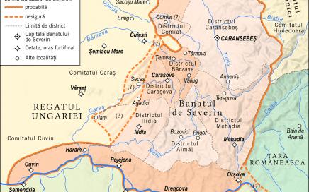 Banatul de Severin în epoca Huniazilor (1445-1490) - foto preluat de pe historymaps.ro