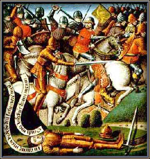 Battle of Roncevaux Pass (August 15, 778) Part of Charlemagne's campaign in the Iberian Peninsula - (15th-century anonymous painting of the Battle of Roncevaux Pass) foto preluat de pe en.wikipedia.org