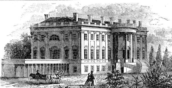 Corpul de vest, Jefferson într-o imagine din secolul XIX. Inițial a fost folosit ca spălătorie. După aceea a fost transformat în piscină de către președintele Roosevelt. Președintele Nixon l-a transformat în Sala Presei - foto preluat de pe ro.wikipedia.org