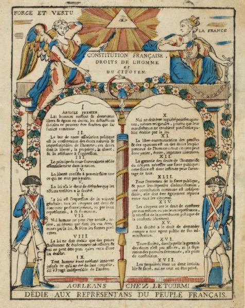Print of the 17 articles of the Declaration of the Rights of Man and of the Citizen in 1789 (Musée de la Révolution française) - foto preluat de pe en.wikipedia.org