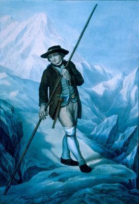 Jacques Balmat (n. 19 ianuarie 1762, Chamonix-Mont-Blanc, Franța – d. septembrie 1834, Sixt-Fer-à-Cheval, Franța) a fost alpinist și călăuză montană în Savoia, născut ca cetățean al Regatului Sardiniei (Jacques Balmat pe Mont Blanc cu un alpenstock şi un topor) - foto preluat de pe ro.wikipedia.org