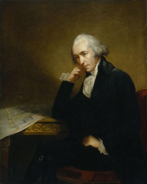 James Watt (n. 19/30 ianuarie 1736, Greenock, Regatul Unit – d. 25 august 1819, Heathfield Hall, Regatul Unit) a fost un matematician, inventator și inginer scoțian, care a activat într-o perioadă de efervescență a revoluției industriale, ca fiind cel care a adus importante îmbunătățiri funcționării mașinii cu abur a lui Thomas Newcomen, prin inventarea camerei de condensare a aburului separată, respectiv reproiectarea și adaptarea regulatorului centrifugal la mașinile sale cu abur. James Watt este, de asemenea, și inventatorul și deținătorul de patent al locomotivei cu abur - (Portrait of James Watt (1736–1819) by Carl Frederik von Breda) foto preluat de pe en.wikipedia.org