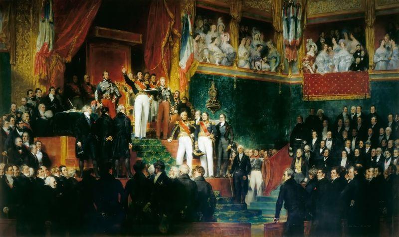 King Louis-Philippe I taking the oath to keep the Charter of 1830 on 9 August 1830 - foto preluat de pe en.wikipedia.org