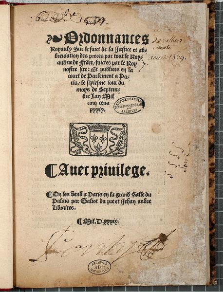 Ordonanța de la Villers-Cotterêts (10 august 1539) - foto preluat de pe www.wikiwand.com