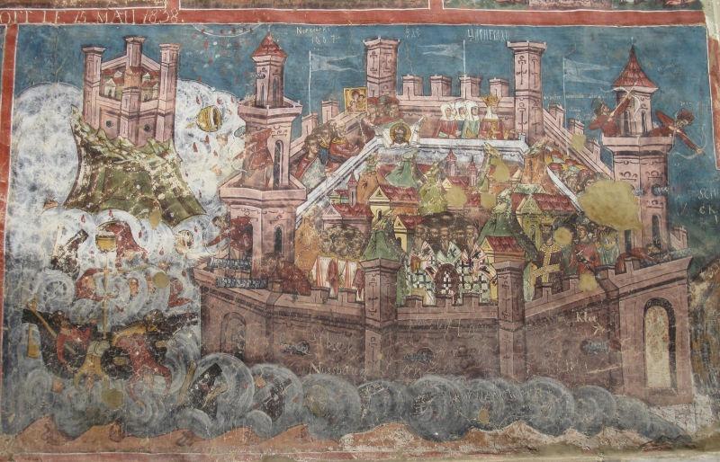 Primul Asediu al Constantinopolului (iunie - iulie 626) Parte a războaielor romano-persane - (Asediul Constantinopolului de către avari într-o pictură murală de la Mănăstirea Moldoviţa) foto preluat de pe ro.wikipedia.org