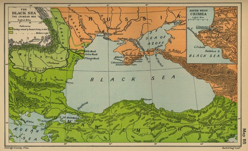 Picture of the Territory affected by the Congress. The light green area to the left is the area of Danubian principalities (Wallachia and Moldavia). The light green line shows the border of the territory of southern Bessarabia, which was transferred from Russia to Moldavia, between the Danube River and Moldavia - foto preluat de pe en.wikipedia.org