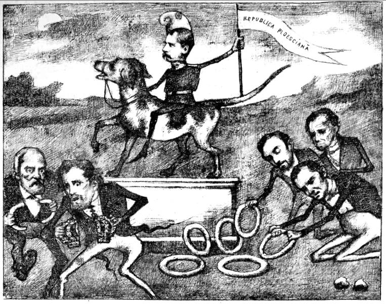 Republica de la Ploiești (8 august 1870), satirizată în 1884 în revista Ciulinul: Alexandru Candiano-Popescu pe piedestal, călare pe un câine și purtând bonetă frigiană pe cap, este prezentat cu covrigi de colegii conspiratori - foto preluat de pe en.wikipedia.org