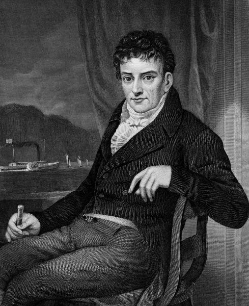 Robert Fulton (n. 14 noiembrie 1765, Little Britain, astăzi Fulton, Pennsylvania – d. 24 februarie 1815, New York) a fost un inginer şi inventator american, creditat incorect pentru mult timp ca fiind constructorul primei nave acţionate de forţa aburilor, Clermont (1807), cu care a întreprins o călătorie de la New York la Albany pe râul / fluviul Hudson - Gravură postumă înfăţişându-l pe Robert Fulton (1873) - foto preluat de pe ro.wikipedia.org