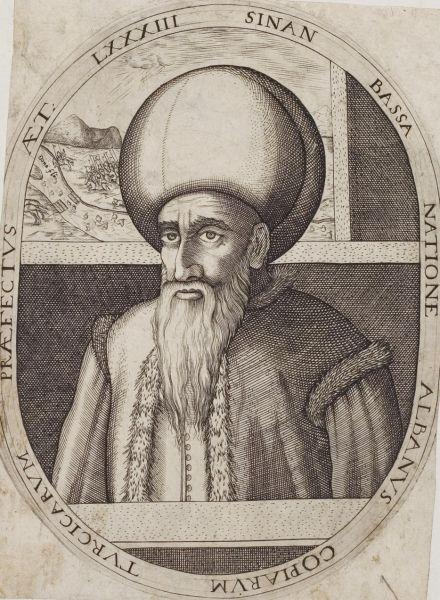 Koca Sinan Paşa (n. 1520, Dibër, Albania – d. 3 aprilie 1596, Constantinopol) a fost un comandant de oşti şi om de stat otoman. S-a născut în Albania, într-o familie săracă. A fost recrutat ca ienicer de tânăr. (...) În ciuda victoriilor din această campanie, a fost demis în februarie 1595, la scurtă vreme după venirea pe tron a lui Mehmet al III-lea, fiind exilat la Malghara. În august al aceluiaşi an, a fost rechemat la post pentru a conduce campania împotriva lui Mihai Viteazul în Ţara Românească. Rezultatele dezastruoase ale campaniei, în special înfrângerea suferită în Bătălia de la Giurgiu, l-au aruncat din nou în dizgraţie, concretizată în destituirea sa din funcţia de mare vizir. Moartea neaşteptată a succesorului său, Lala Mahommed, la trei zile după numire, a fost privită ca un semn divin, iar Sinan a fost numit Mare Vizir pentru a cincea şi ultima dată. Sinan Paşa a murit pe neaşteptate pe 3 aprilie 1596, lăsând în urmă o uriaşă avere şi nici un moştenitor - foto preluat de pe ro.wikipedia.org