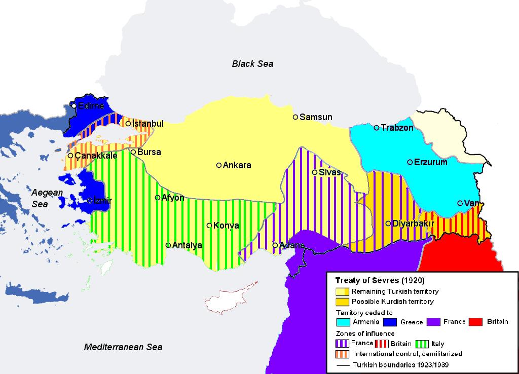 Împărțirea Anatoliei și Traciei în conformitate cu prevederile Tratatului de la Sèvres (10 august 1920) - foto preluat de pe ro.wikipedia.org