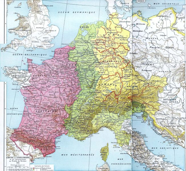 The Carolingian Empire at its greatest extent, with the three main divisions of 843. Pink area indicates West Francia. Green area indicates Middle Francia. Yellow area indicates East Francia - foto preluat de pe ro.wikipedia.org