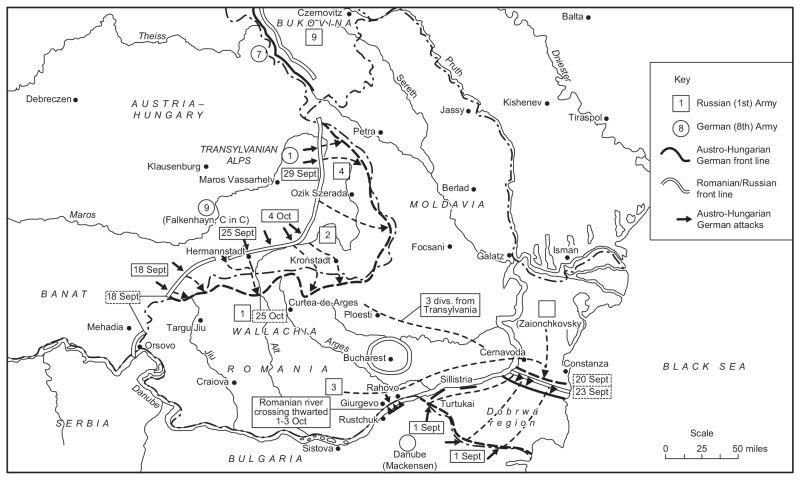 Map of the Romanian campaign - foto preluat de pe en.wikipedia.org
