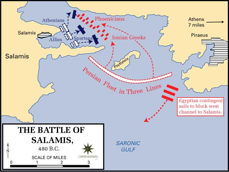 Bătălia de la Salamina (28 septembrie 480 î.Hr.) - parte a Războaielor medice; a doua invazie persană - foto preluat de pe ro.wikipedia.org