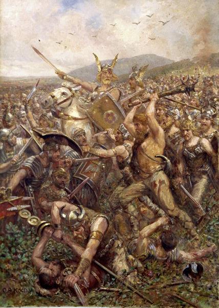 Bătălia din Pădurea Teutoburgică (9 - 11 septembrie Anul 9 d. Hr.) - Parte a Războaielor germanice  - (Germanic warriors storm the field, Varusschlacht, 1909) - foto preluat de pe ro.wikipedia.org
