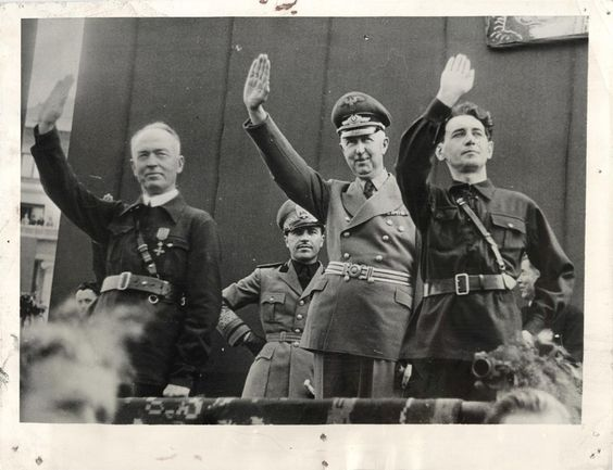 General Ion Antonescu, left, in Iron Guard uniform; Italian Minister to Bucharest Signor Pellegrino Ghigi; Herr Wilhelm Von Fabricius, German Minister to Bucharest, and Horia Sima, leader of the Iron Guard (4 septembrie 1940) - foto preluat de pe worldwartwodaily.filminspector.com
