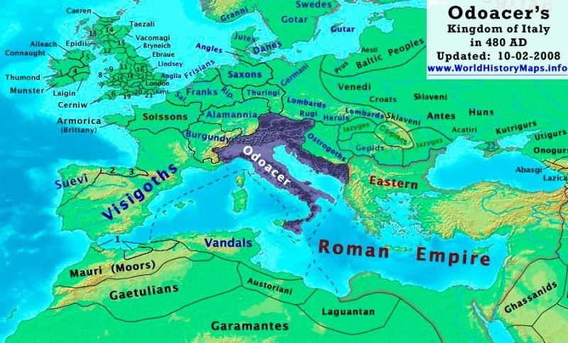 Regatul lui Odoacru (480 d. Hr.) - foto preluat de pe ro.wikipedia.org