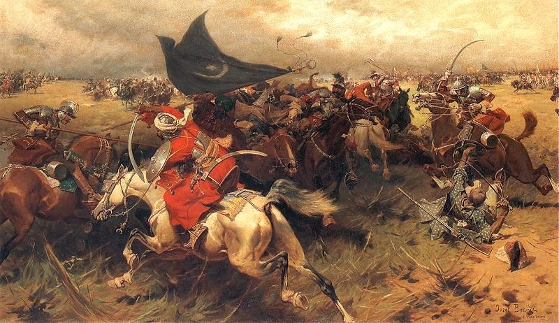 Spahi în bătălie purtând steagul cu Semilună (pictură de Józef Brandt) - foto preluat de pe ro.wikipedia.org