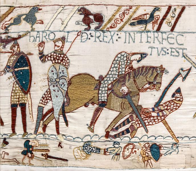 Moartea regelui Harold Godwinson în Bătălia de la Hastings (14 octombrie 1066), imagine din Tapiseria de la Bayeux, foto preluat de pe ro.wikipedia.org